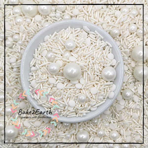 One Colour Mixed Sprinkles - Pearl White